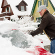 Removal snow from the car — Stock Photo