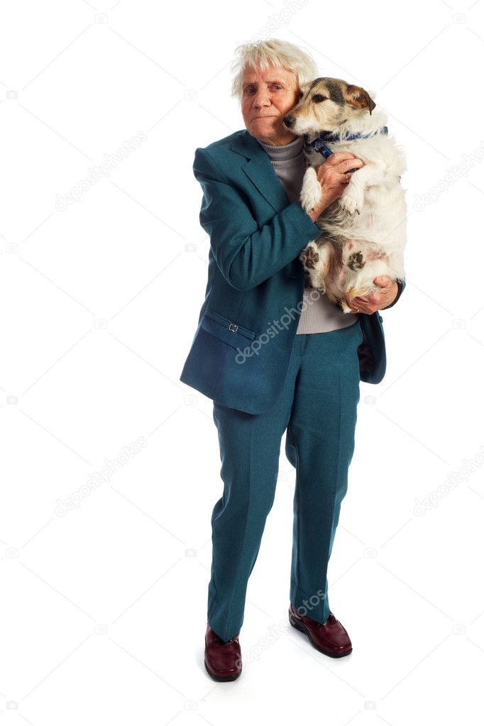 Elderly woman with her Jack Russel dog — Stock Photo #4675547