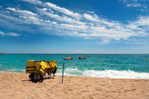 Diving equipment at the beach — Stok fotoğraf