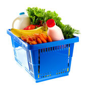 Dairy shopping basket — Stock Photo