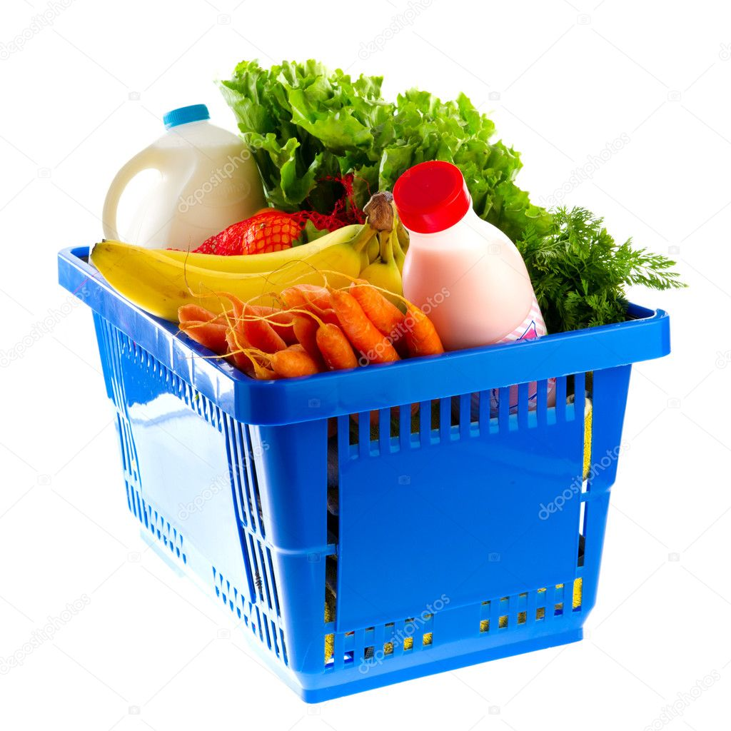 Blue shopping basket with dairy food from the supermarket — Stock Photo #4951402