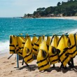 Stock Photo: Diving jackets at beach