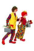 Funny traveling clowns — Stock Photo