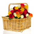 Colorful bouquet roses in basket — Stock Photo #5138937