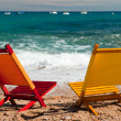 Empty colorful chairs at the beach — Stock Photo