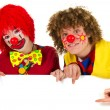 Funny clowns with white board — Stock Photo #5266064
