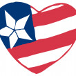 Stock Photo: Heart Fourth Of July AmericFlag
