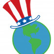 American Hat On A Globe — Stock Photo