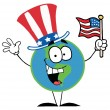 Globe Cartoon Characters with American Flag - Stock Photo