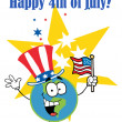 Globe Cartoon Characters with American Patriotic Hat And Flag - Stock Photo