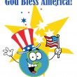 Stock Photo: Globe Characters with AmericPatriotic Hat And Flag