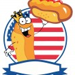 King Hot Dog Holding Up A Garnished Hot Dog Over An American Circle — Stock Photo