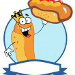 King Hot Dog Cartoon Character Showing XXL Hot Dog — Stock Photo