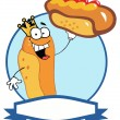 King Hot Dog Cartoon Character Showing XXL Hot Dog — Stock Photo #4723902