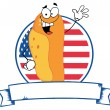 Waving Hot Dog Over An American Circle And Blank Banner Text Box — Stock Photo