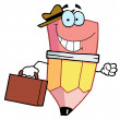 Pencil Guy Businessman Carrying A Briefcase - Stock Photo