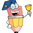 Pencil Guy Graduate Ringing A Bell — Stock Photo