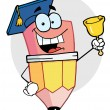 Pencil Graduate Ringing A Bell — Stock Photo