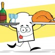 Chef Hat Guy Serving Red Wine And Turkey — Stock Photo