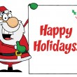 Stock Photo: Happy Holidays Greeting With SantPresenting Sign