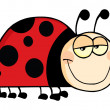 Happy Ladybug Cartoon Character — 图库照片