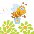 Cartoon Character Bee Flying Bucket In The Flowers — Stock Photo #4724301
