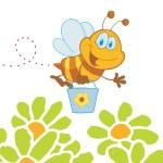 Cartoon Character Bee Flying Bucket In The Flowers — Stock Photo #4724301
