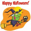 Happy Halloween Greeting Over A Witch And Cat — Stock Photo