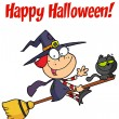 Happy Halloween Greeting Over A Little Witch — Stock Photo #4724667