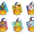 Stock Photo: Cartoon Halloween Characters Set