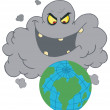 Stock Photo: Evil Black Smog Cloud Laughing At Earth