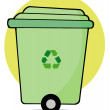 Rolling Green Recycle Bin — Stock Photo