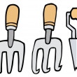 Collage Of Wood Handled Gardening Tools - Stockfoto