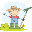 Gardening Boy Waving A Greeting - Stock Photo