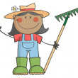 Black Farmer Girl Holding A Rake And Waving — Stock Photo