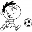 Coloring Page Outline Of A Cartoon Soccer Player Boy Running After A Ball - Stock Photo