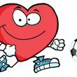Red Heart Soccer Player Chasing A Ball — Stock Photo #4725187