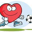 Foto de Stock  : Red Heart Chasing Soccer Ball