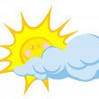 Smiling Sun Behind Cloud — Stock Photo