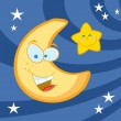 Smiling Moon And Star Cartoon Characters — Stock Photo #4725380