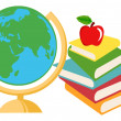 Desk Globe With Text Books — Stock Photo