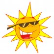 Hot Summer Sun Wearing Shades - Stock Photo