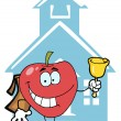Stock Photo: Apple Ringing Bell By School House