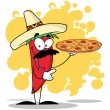 Sombrero Chile Pepper Holds Up Hot Pizza — Stock Photo