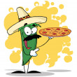 Sombrero Chile Green Pepper Holds Up A Hot Pizza — Stock Photo