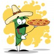 Sombrero Chile Green Pepper Holds Up A Hot Pizza — Stock Photo #4725906