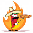 Stock Photo: Chile Red Pepper Holds Up PizzIn Flame