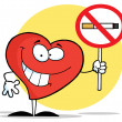 Heart Holding A Smoking Prohibited Sign — Stock Photo
