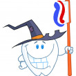 Happy Smiling Halloween Tooth With Toothbrush — Stockfoto