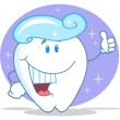 Smiling Tooth Cartoon Character With Toothpaste — Stock Photo